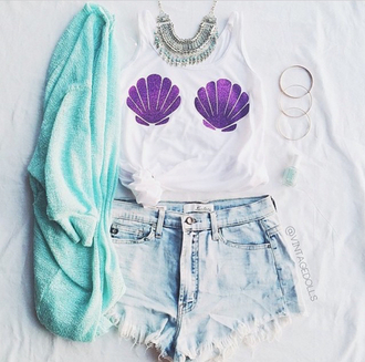 blouse colar azul concha shirt the little mermaid thelittlemermaid mermaid cardigan top purple purple tanktop white top white t-shirt white shirt shorts tank top