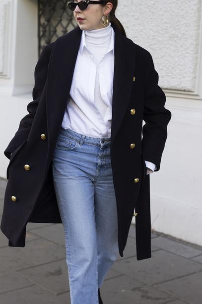 9ab5b02581 coat black coat military style oversized denim jeans blue jeans shirt white  shirt turtleneck white turtleneck