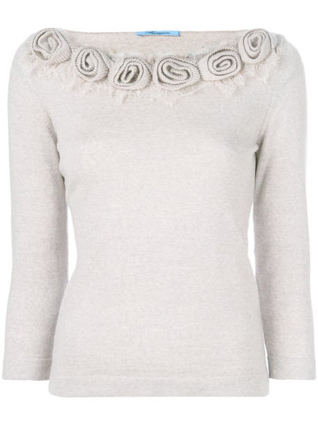 top knitted top women floral nude wool