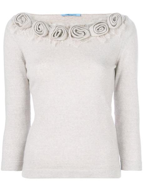 Blumarine top knitted top women floral nude wool