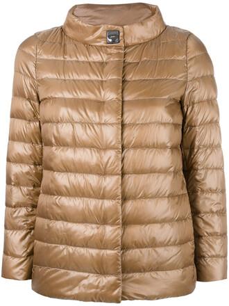 jacket high women high neck brown