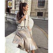 skirt,tumblr,metallic pleated skirt,pleated skirt,midi skirt,metallic,blouse,metallic blouse,bag,silver bag