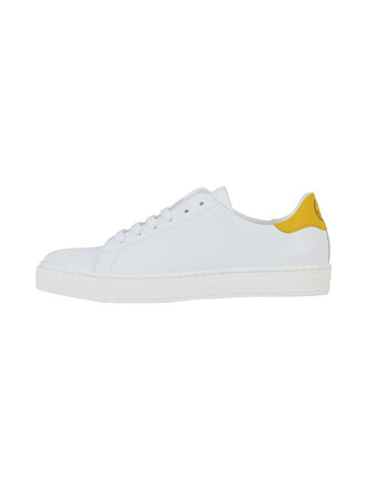 leather white yellow shoes