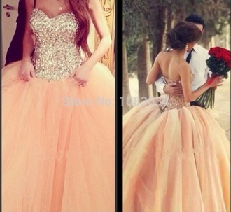 dress prom dress rinestone crystals prom dress crystal quartz beautiful style poofy and pink peach peach dress orange dress gorgeous prom gown dream dress dream