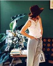 pants,striped pants,wide-leg pants,top,white top,peplum top,peplum,eyelet detail,eyelet top,sleeveless,sleeveless top,white lace top,lace top,hat