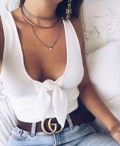 top,white textured summer  low cut,spring,white,summer,white top,white crop tops,white t-shirt,tie front,spring outfits,summer outfits,summer holidays,summer shirt
