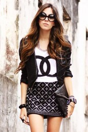 tank top,top,jacket,black jacket,white shirt,skirt,bag,bracelets,sunglass,watch,necklace,chanel,designer,white,t-shirt,blogger,budget