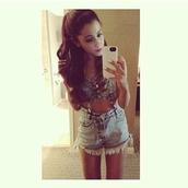 shorts,ariana grande,grande,beautiful,love,denim,denim shorts