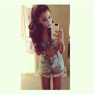 shorts ariana grande grande beautiful love denim denim shorts