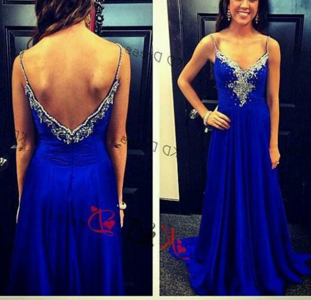 Blue Formal Dresses with Rhinestones