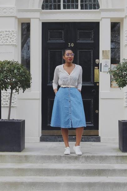 skirt blue skirt top shirt shoes