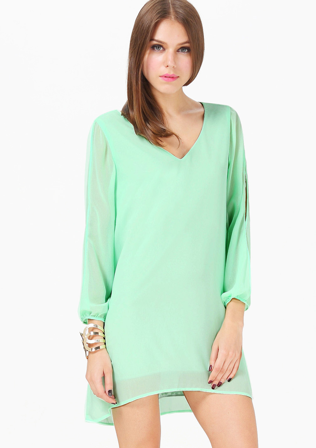 Mint Dress with Sleeves