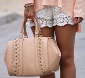shorts,lace,crochet,white lace shorts,lace shorts,crochet shorts,white,bag,sweater,pink,white shorts,white lace