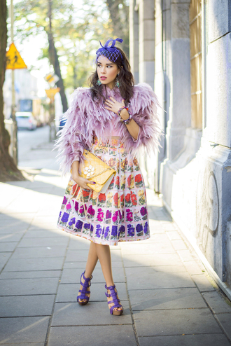 macademian girl blogger feathers midi skirt coat top skirt shoes bag sunglasses jewels