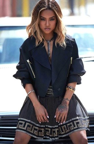 skirt necklace jacket editorial karrueche bracelets