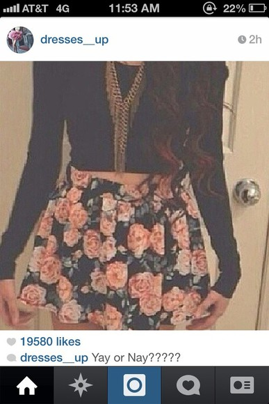 rose floral pretty skirt