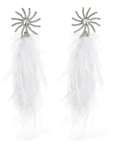ALESSANDRA RICH Crystal Star Clip-on Earrings W/feathers Crystal/white