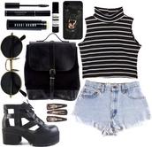 top,striped black white mono