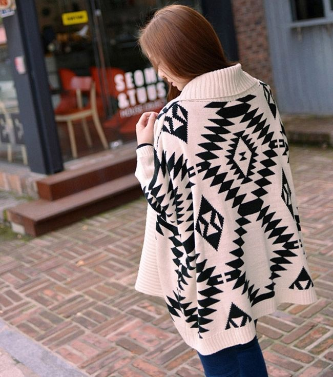 Aliexpress.com : Buy 2014 Womens Fashion Geometric Aztec Tribal Knit Open Long Sleeve Irregular Oversized Tops Cardigan High Quality Sweaters from Reliable cardigan baby suppliers on Shenzhen Gache Trading Limited