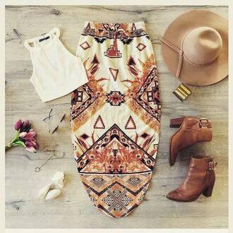 skirt aztec orange skirt white skirt patterns