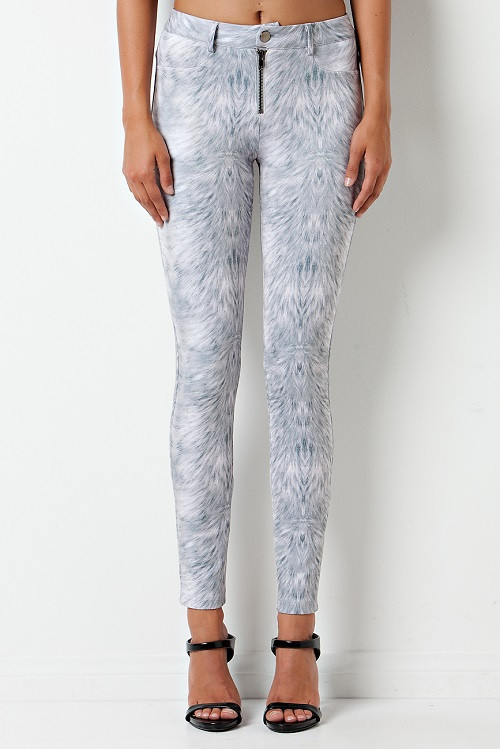 """holy grey"" feather print scuba tube pants – glamzelle"