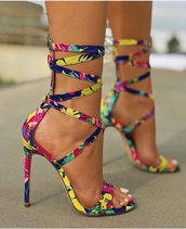 shoes,heels,strappy heels,floral,liliana,pink,blue,green,yellow,high heels,summer,summer outfits,spring,high heel pumps,jellow,colorful,festival