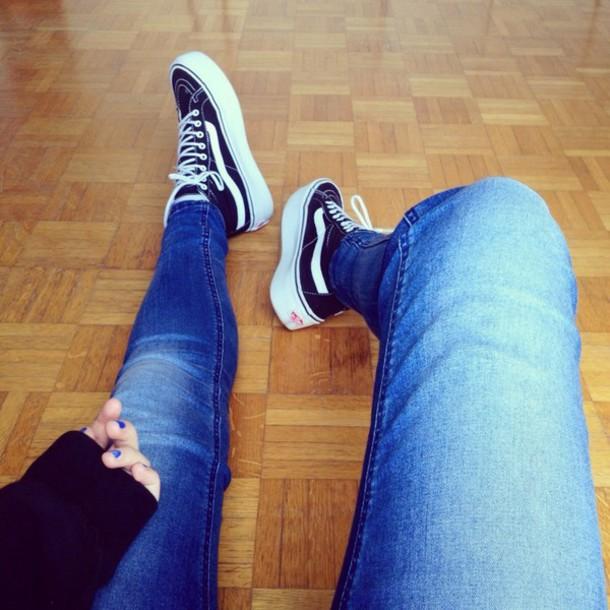 Shoes, Vans Platform Shoes, Jeans, Blue Nails, Black Shoes