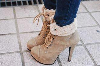 shoes high heels beige shoes winter outfits fall outfits closed toe girly fur brown ankle boots lace up boots blue jeans cute bag pumps booties heels faux fur boots tan lace up booties beige brown shoes cute high heels beautiful fabulous brown high heels talons marron fourrure warm
