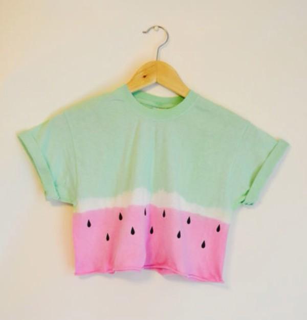 water melon t-shirt top watermelon shirt blouse shirt crop tops summer