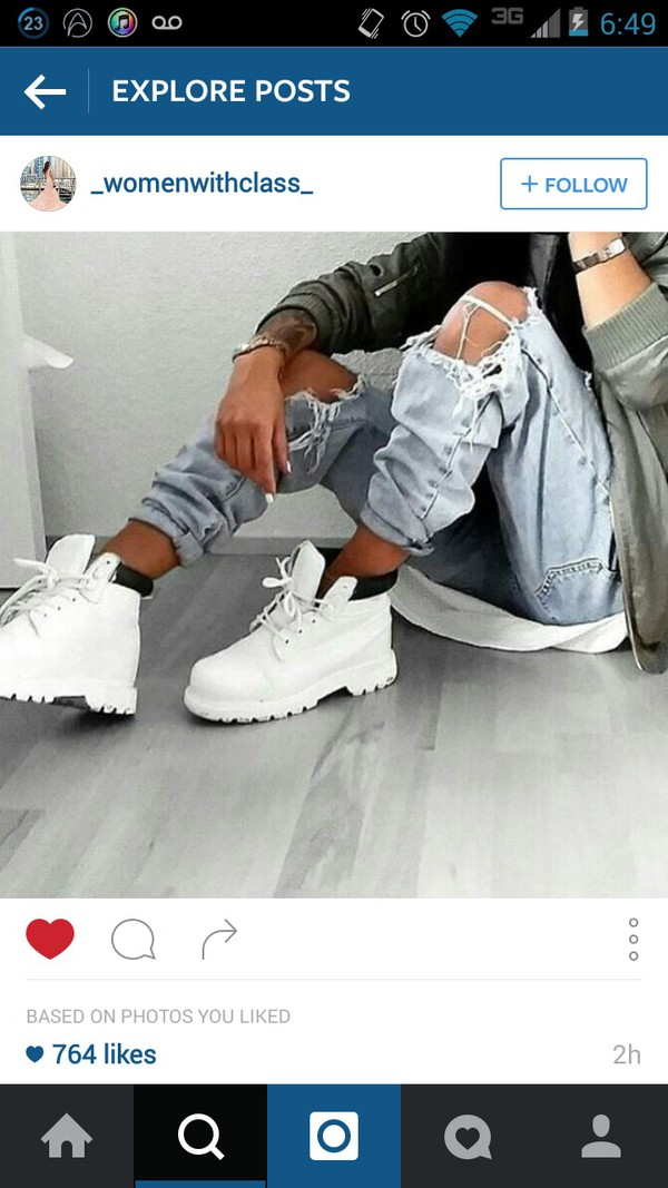 shoes bomber jacket cute timberlands tumblr girl jeans white timberland boots shirt white t-shirt white top