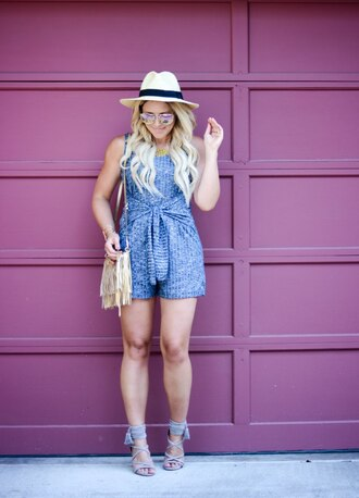 all dolled up blogger romper jewels bag hat sunglasses shoes straw hat summer hat mirrored sunglasses blue romper fringed bag gold bag sandals sandal heels high heel sandals grey sandals lace up heels summer outfits