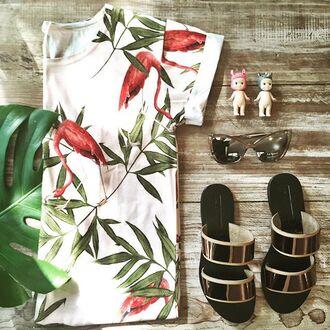 t-shirt yeah bunny tee tropical cute summer flamingo