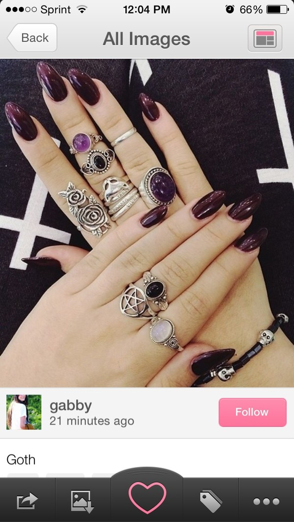 jewels ring black nails grunge goth hipster nail polish