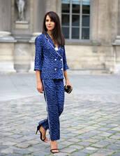 coat,blue pants,pajama style,blazer,blue blazer,printed blazer,pants,printed pants,cropped pants,sandals,sandal heels,high heel sandals,black sandals,streetstyle