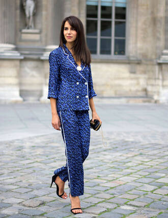 coat blue pants pajama style blazer blue blazer printed blazer pants printed pants cropped pants sandals sandal heels high heel sandals black sandals streetstyle