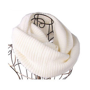 Women's Men Winter Warm Infinity 2 Circle Cable Knit Neck Long Scarf Shawl White | eBay