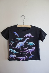 shirt,black,crop tops,black crop top,dinosaur,pink,blue,colorful,top,hipster,t-shirt,dino,graphic tee