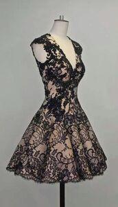 dress,little black dress,lace dress,black,nude,cute,hot,lace,classy,chic,v neck,a line,skater,black dress