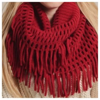 red scarf infinity scarf fringe fringe scarf loop scarf chenille scarf red