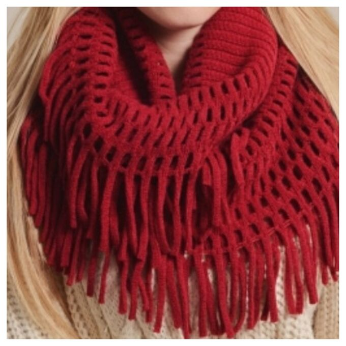 red scarf infinity scarf fringes fringe scarf loop scarf chenille scarf red