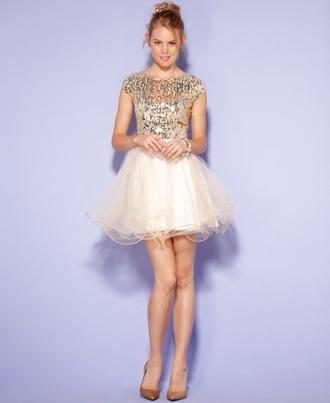dress puffy tulle skirt white heels beige