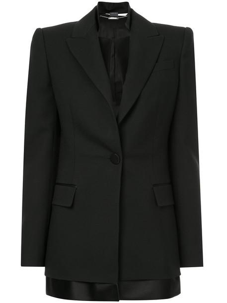 Alexander Mcqueen blazer women layered black silk wool jacket