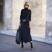 sweater,turtleneck,black turtleneck top,midi skirt,pleated skirt,sandals,handbag,crocodile,crossbody bag,mini bag,sunglasses