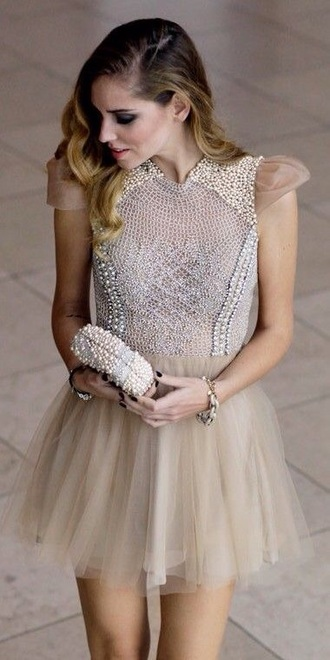 dress beaded nude dress