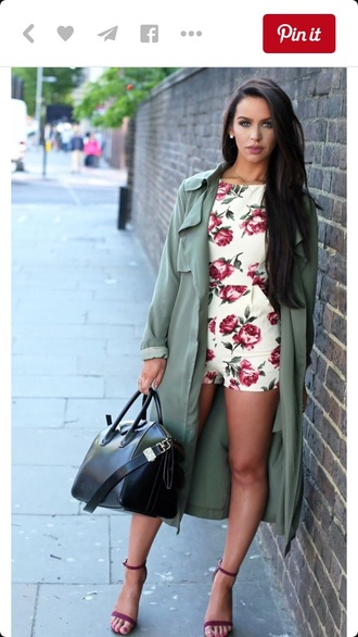 romper floral romper floral dress one piece outfit trench coat coat long coat fall outfits