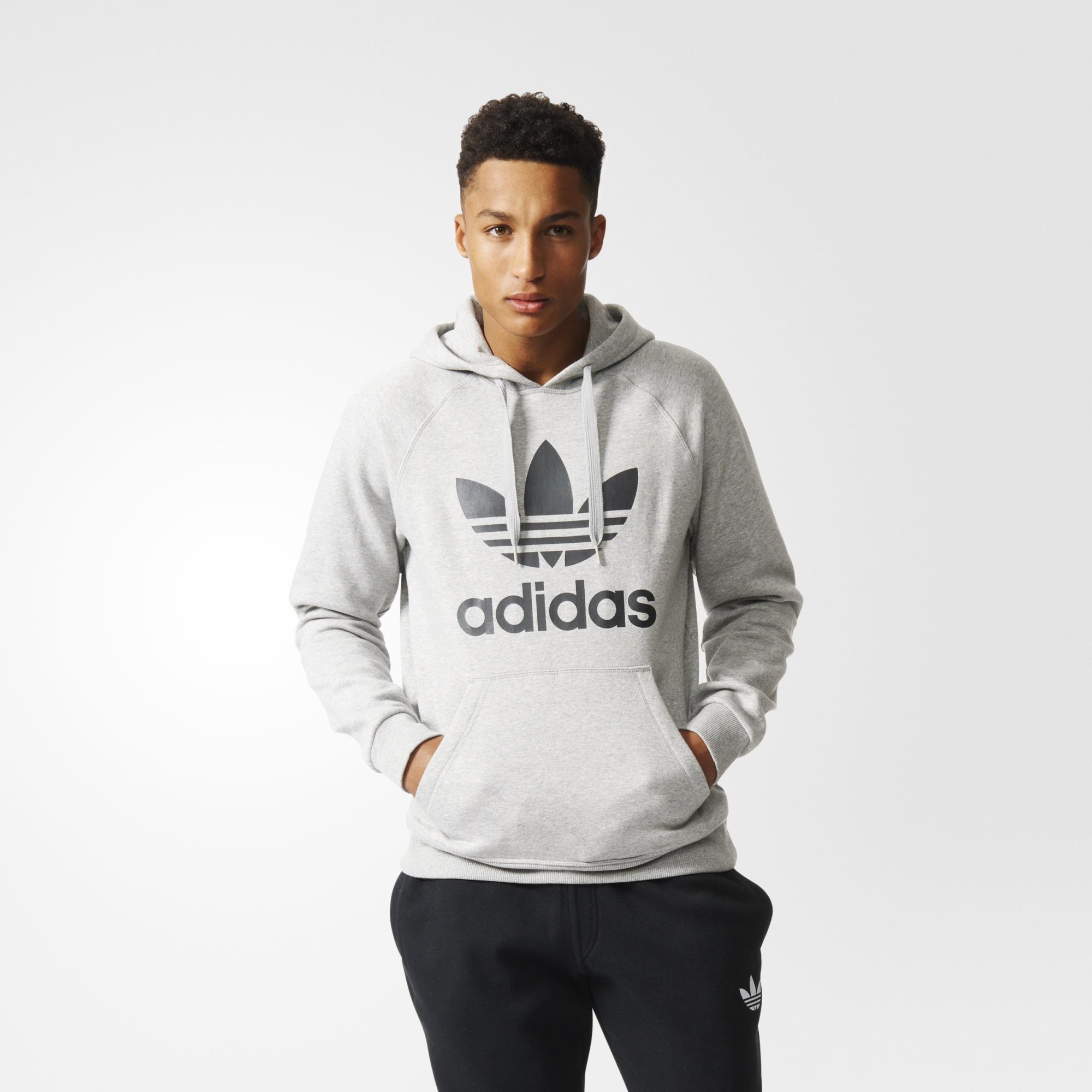 adidas trefoil hoodie grey on sale > OFF55% Discounted