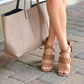 shoes,heels,trendy,boho,fashion,chunky heels,chunky heel,camel,brown heels,criss cross,style,sotd,classy,qupid