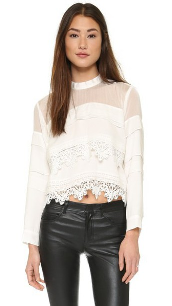 Line & Dot Mademoiselle Lace Top - White