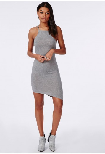 Missguided - Jersey High Neck Asymmetric Hem Dress Grey