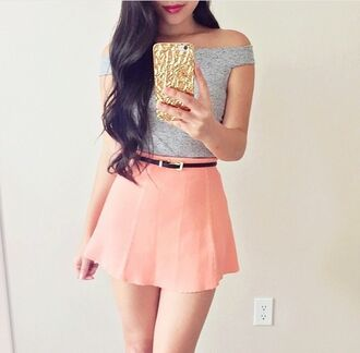 skirt skater skirt pink pink skirt girly cute crop tops off the shoulder grey crop top grey grey top top belt phone cover iphone off the shoulder crop top iphone cover